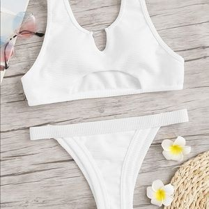 Brand New White Two Piece Cut Out Set S/M